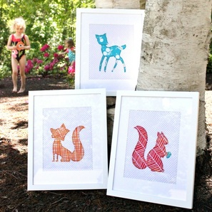 Forest Friends {Framed Nursery Applique} by Sarah Nunes of Berry Barn Designs