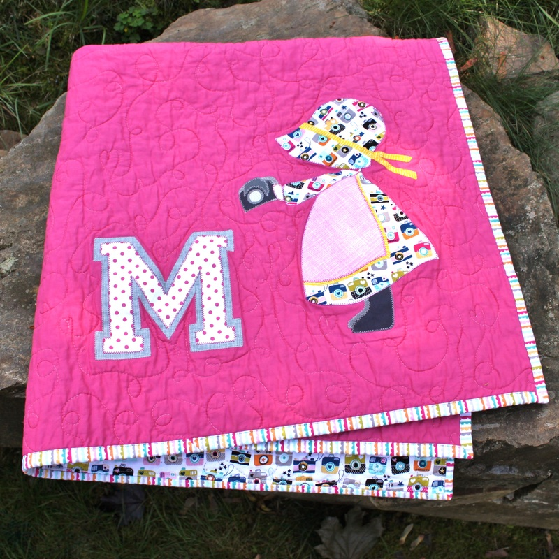 Sunbonnet Sue as Modern Photog custom baby quilt {Berry Barn Designs}