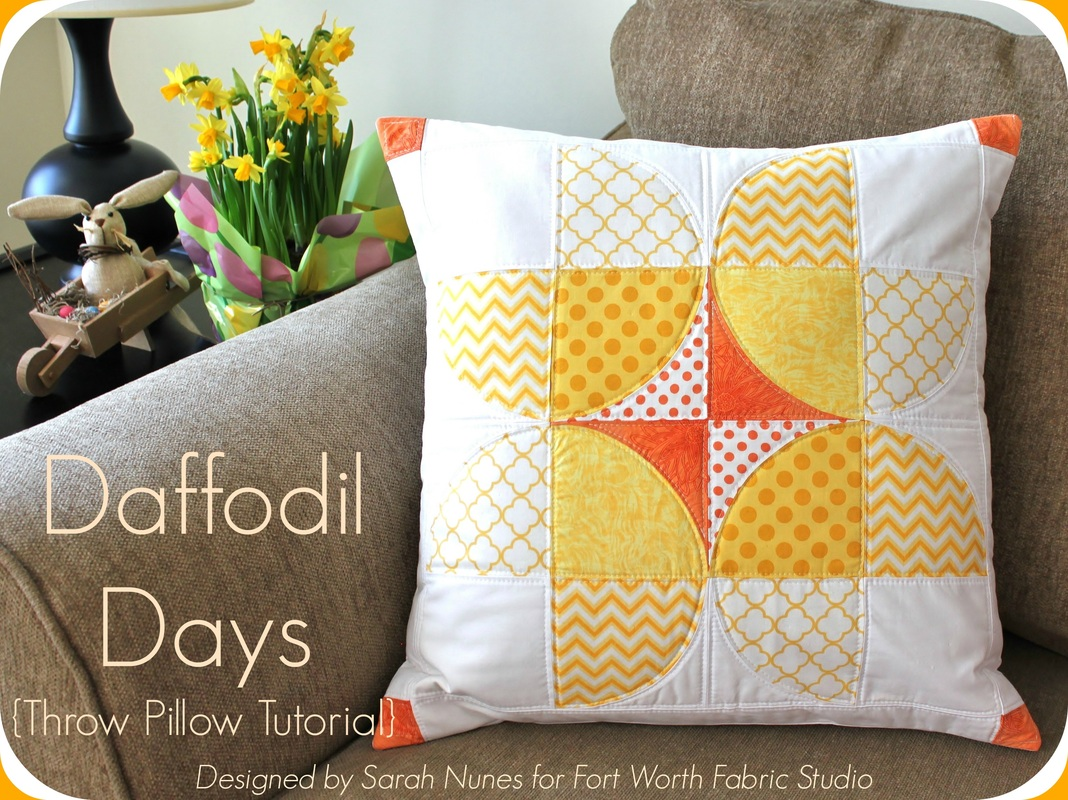 Daffodil Days Throw Pillow Tutorial {by Sarah of Berry Barn Designs} for Fort Worth Fabric Studio