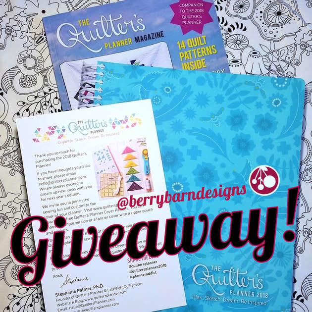 #BBDTuesdayTreats Quilter's Planner Giveaway! {Sarah Nunes @BerryBarnDesigns} #quiltersplanner2018 #giveaway #winit #prize