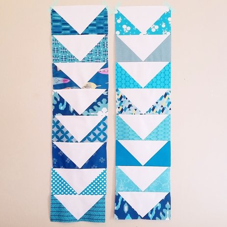 Kids Quilt Round Robin blue & white flying geese rows {BerryBarnDesigns.com}