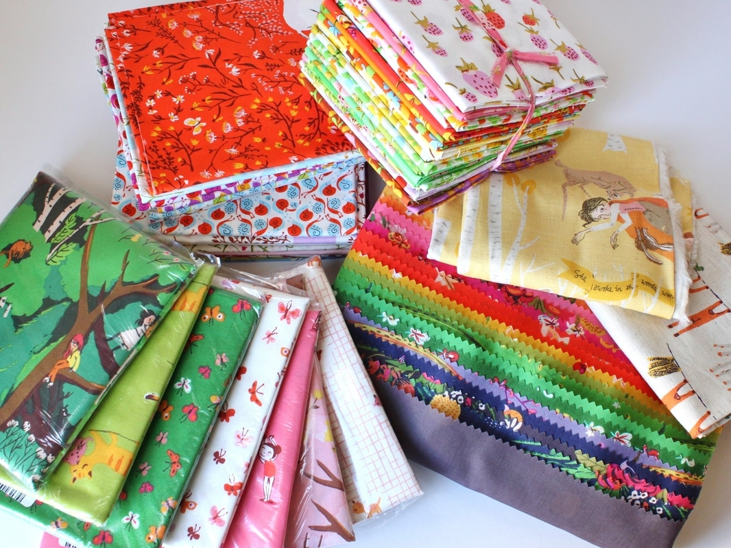 An array of Heather Ross' fabric lines for Sunday Stash share {Sarah @BerryBarnDesigns} #heatherross #sleepingporchfabric #briarrosefabric #farfarawayfabric #tigerlilyfabric #windhamfabrics #sundaystash