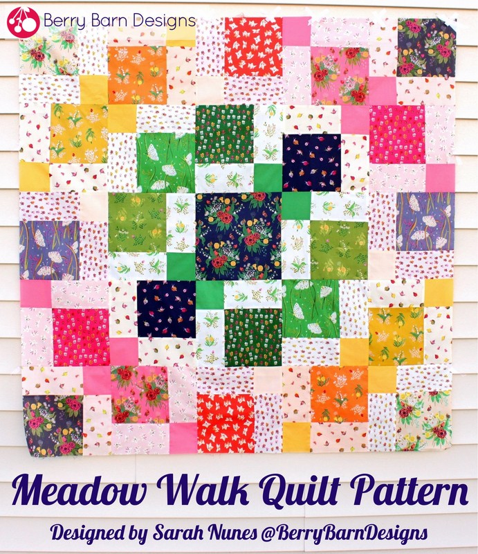 Meadow Walk throw quilt pattern {Designed by Sarah Nunes @BerryBarnDesigns} #berrybarndesigns #meadowwalkquilt #throwquilt #freepattern #quiltpattern #heatherross #sleepingporchfabric