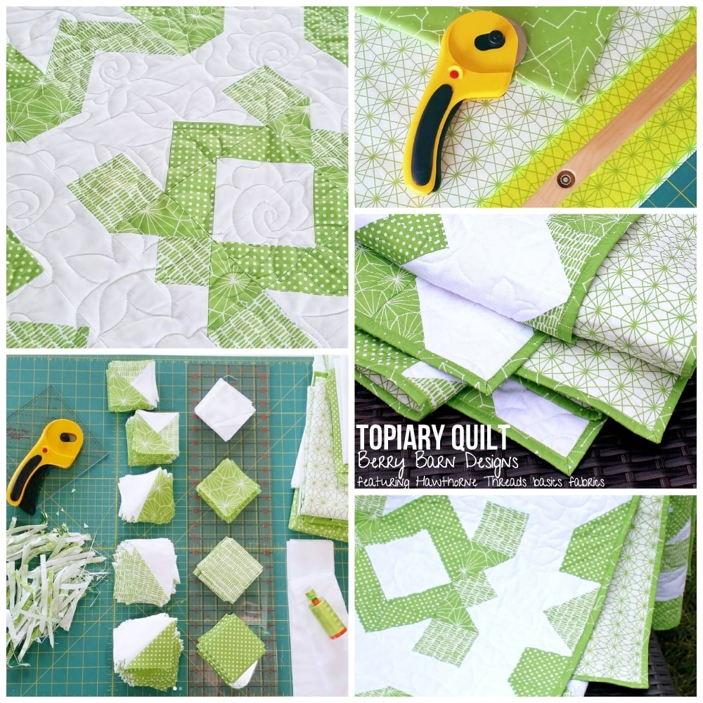 Topiary Quilt by Sarah Nunes of BerryBarnDesigns.com - as featured in the Hawthorne Threads newsletter - #berrybarndesigns #topiaryquilt #hstbasics #quiltpattern #greenery #pantone2017